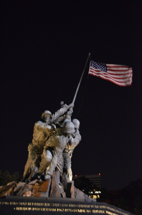 The wind was blowing the flag around, and things were very dark. But I clicked off photos as I walked and hoped a lot.