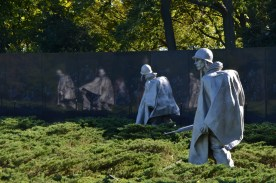 When viewed in the polished marble wall, there appear to be 38 statues, representing the 38th parallel where the war was fought.