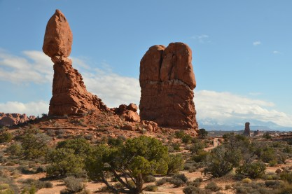 Balanced rock. Note the snow capped mountains in the distance.