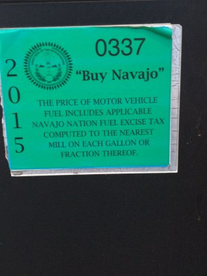 On a gas pump on the Navajo reservation.