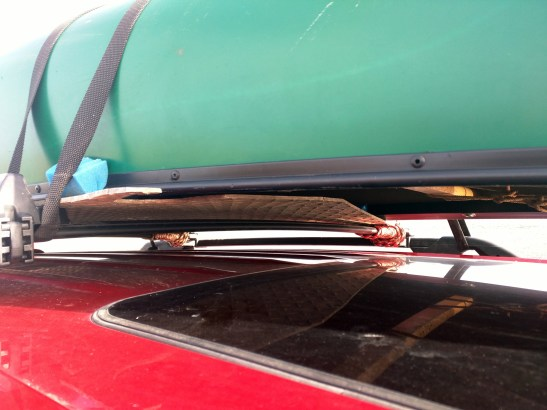 Skid plate neatly tucked away under the canoe.