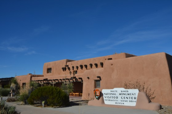 """White Sands Visitor Center. Stop here and learn about the origin of the sand as larger Gypsum deposits from the """"Playa"""" Lake Lucerno."""