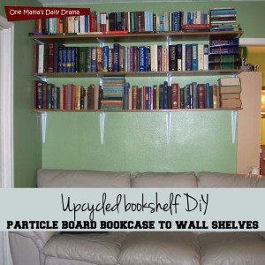 Upcycled bookshelf DiY - turn an old cheap bookcase into a wall shelf | One Mama's Daily Drama