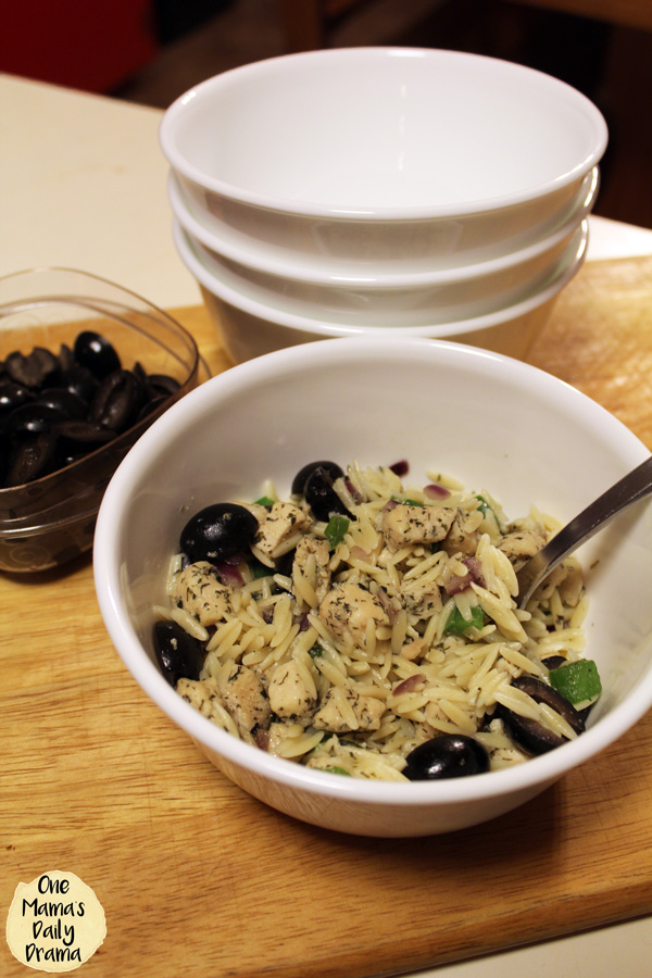 Mediterranean chicken and orzo | Olives can be cooked in or served separately for picky eaters.