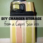 DIY electronic charger storage from a Capri Sun box