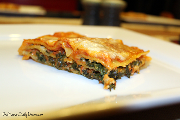 Vegetarian spinach lasagna recipe from One Mama's Daily Drama