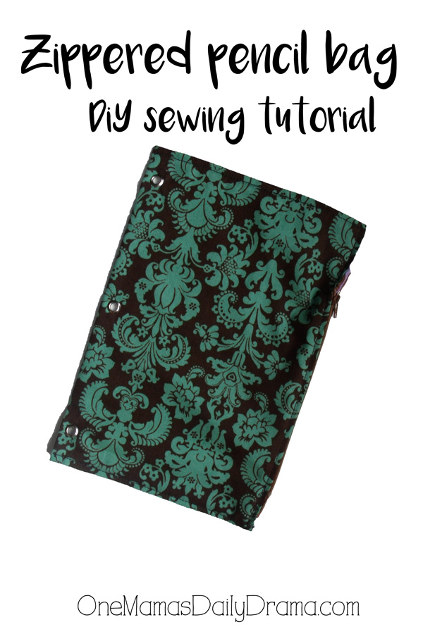 Zippered pencil bag DiY tutorial for back to school