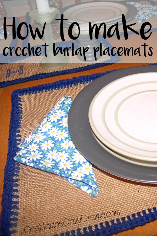 Easy beginner DiY crochet burlap placemats