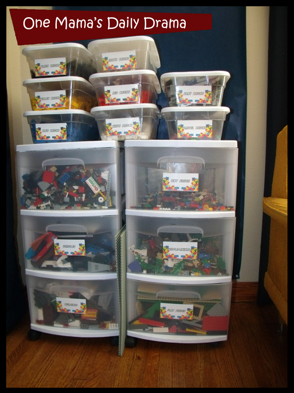& LEGO storage with printable labels