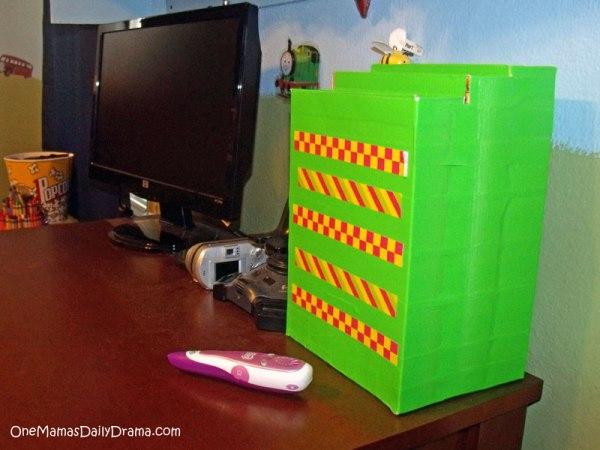 organizing idea: duct tape storage boxes