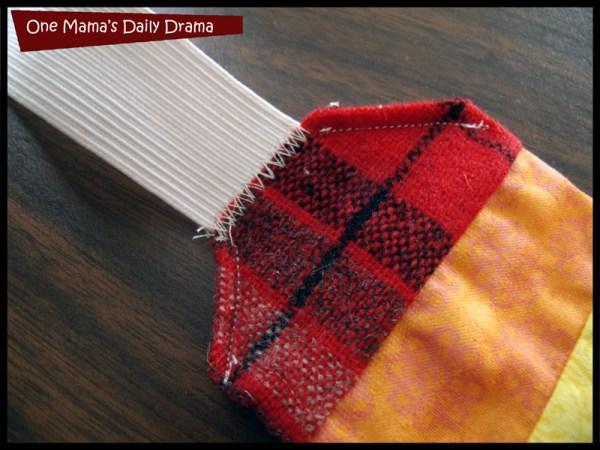 Zig-zag stitch elastic into headband