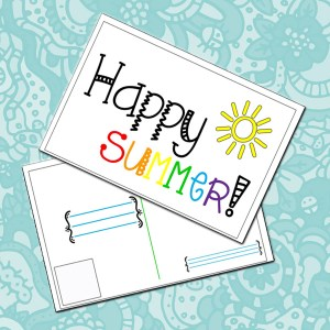 Printable 2-sided summer postcard {you can mail!}