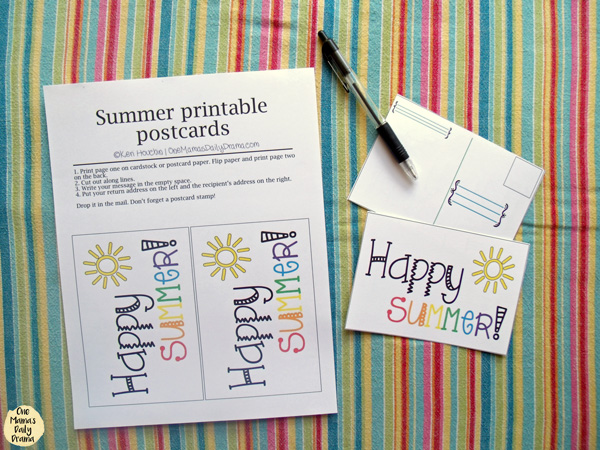 Free printable 2-sided summer postcard