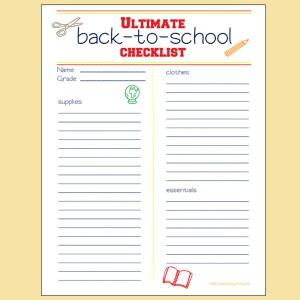Ultimate back-to-school checklist printable
