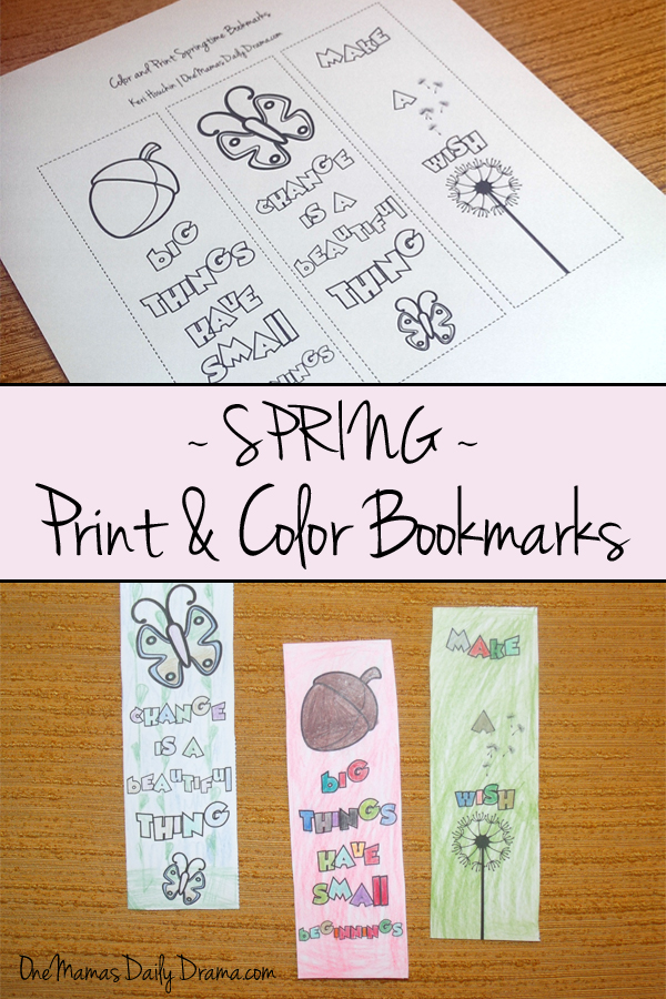 Spring print and color bookmarks | One Mama's Daily Drama