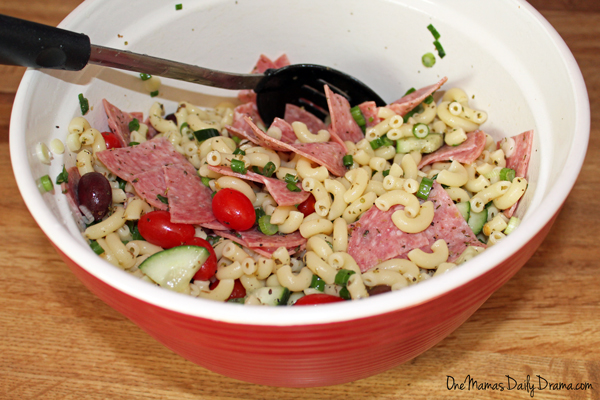 Greek pasta salad   from One Mama's Daily Drama --- Cold pasta recipe with Greek flavors