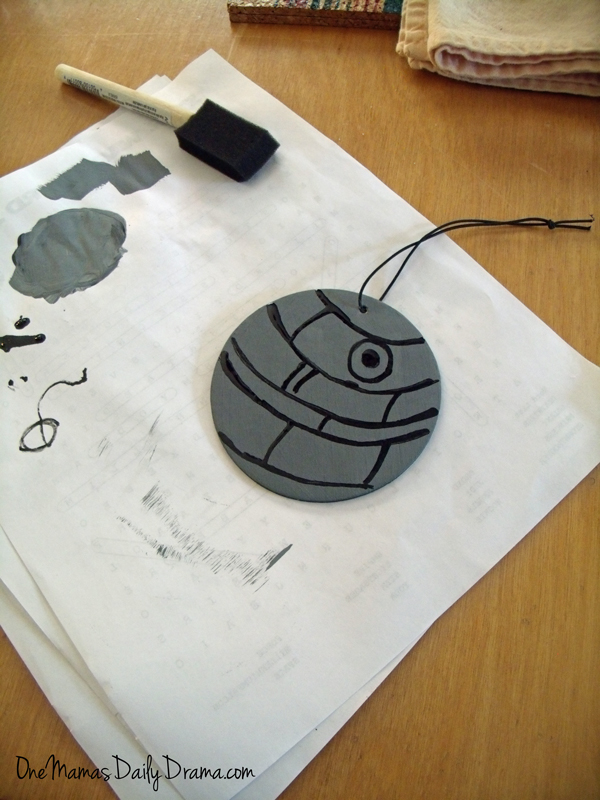 Diy Mini Death Star | One Mama's Daily Drama --- Upcycle your air freshener to make a rad Death Star to hang from your car mirror.