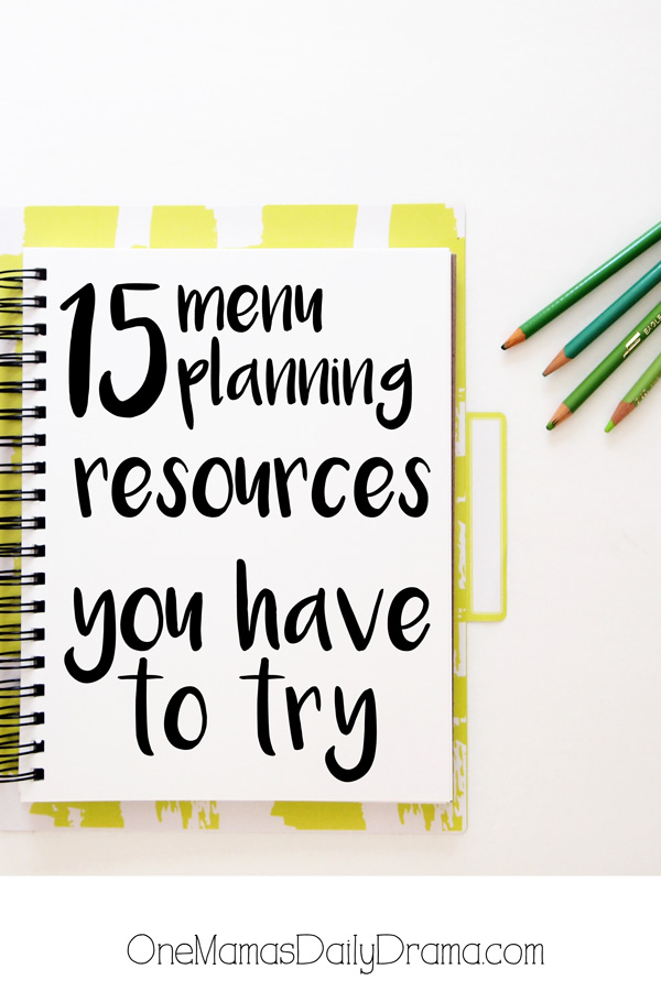 15 menu planning resources you have to try