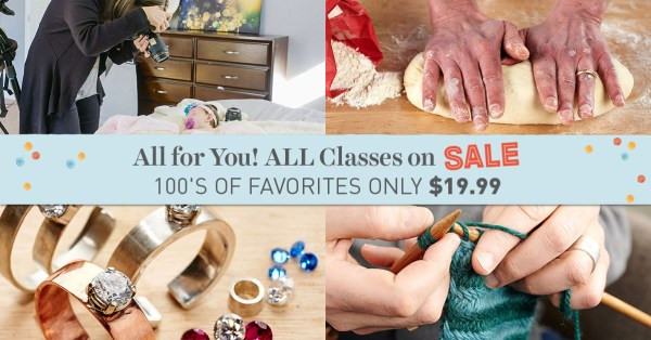All Craftsy classes on sale 3/25-28, 2016!