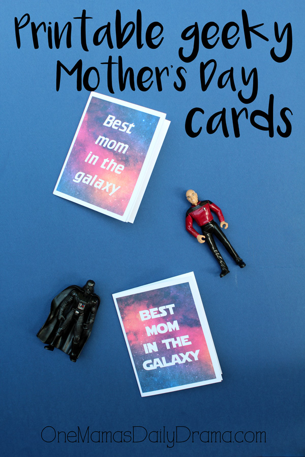 Printable geeky Mother's Day cards | Star Wars and Star Trek cards for mom