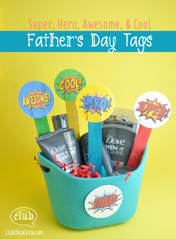 Superhero Father's Day sticker tags | Club Chica Circle