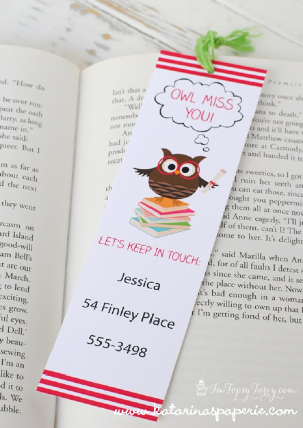 End of school printable bookmarks