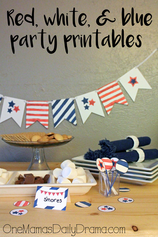 Red, white, and blue party printables | 3 pages of patriotic party supplies from OneMamasDailyDrama.com