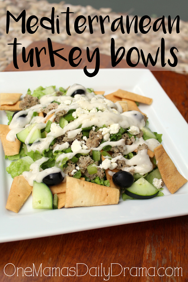 Mediterranean turkey bowls recipe from OneMamasDailyDrama.com