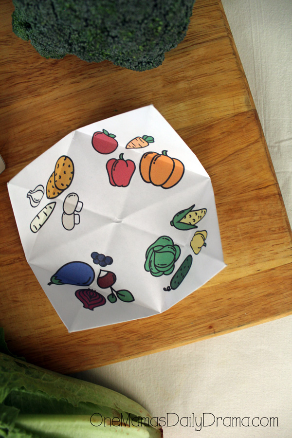 Pick-a-veggie printable fortune game vegetables