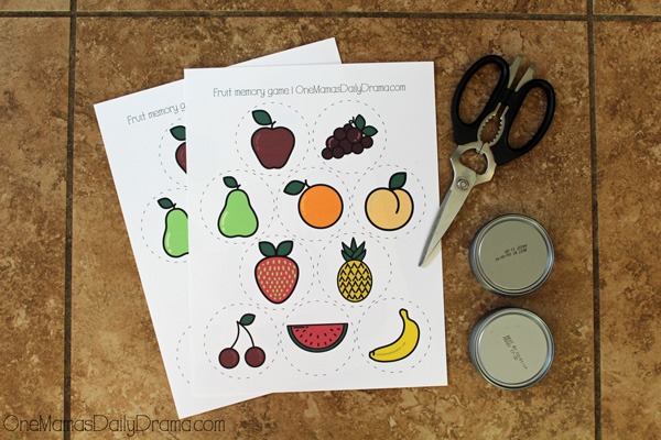 Printable fruit memory game | supplies needed