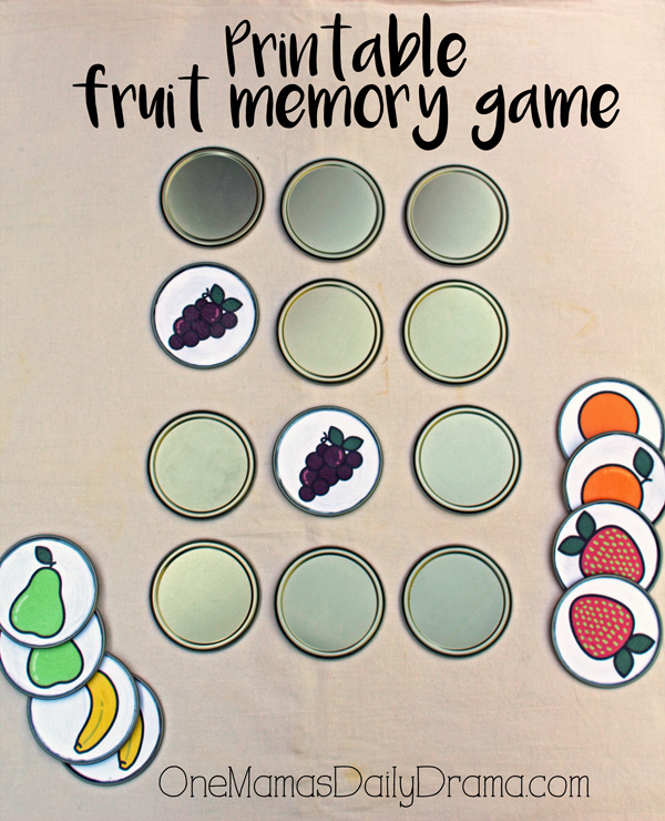 Printable fruit memory game + DiY tutorial with juice lids