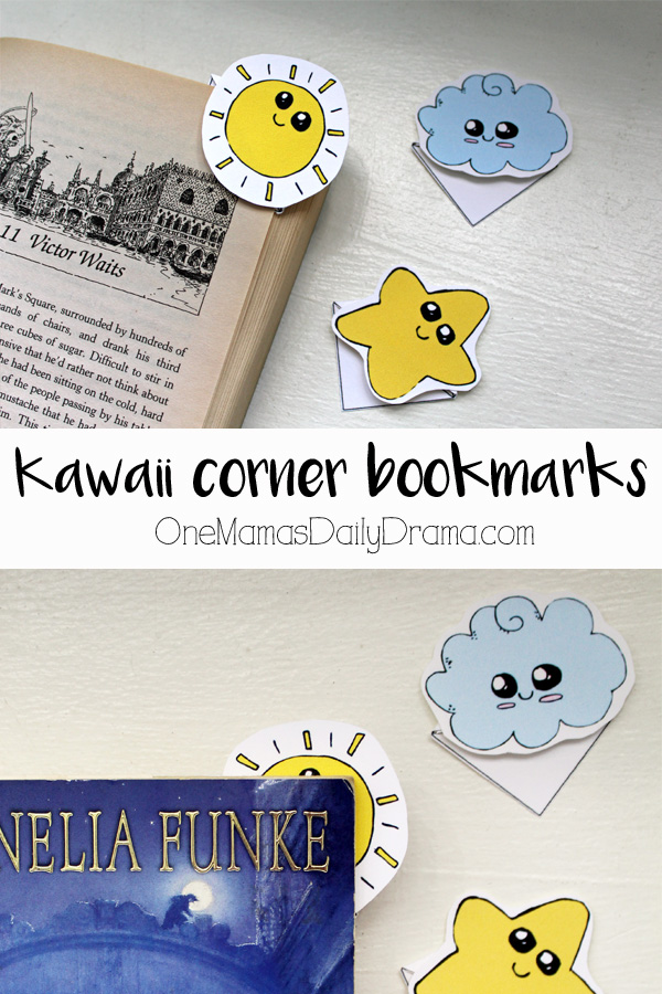 Kawaii corner bookmarks | free printable sun, cloud and star + tutorial