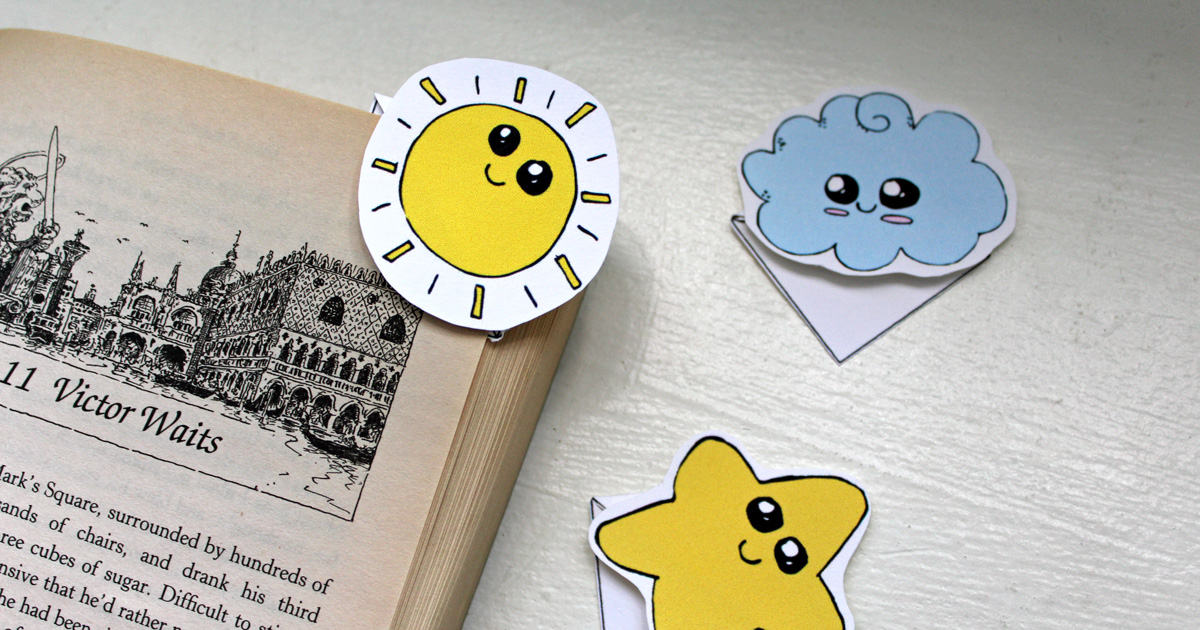 Kawaii corner bookmarks printable