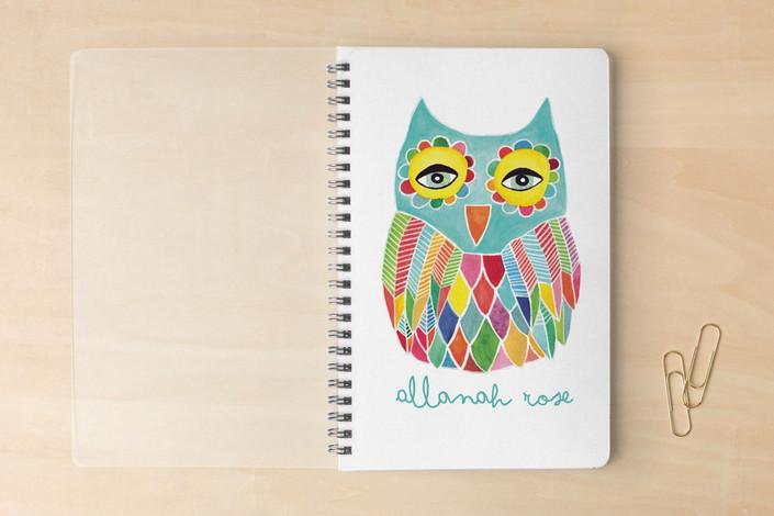 Minted.com owl spiral notebook
