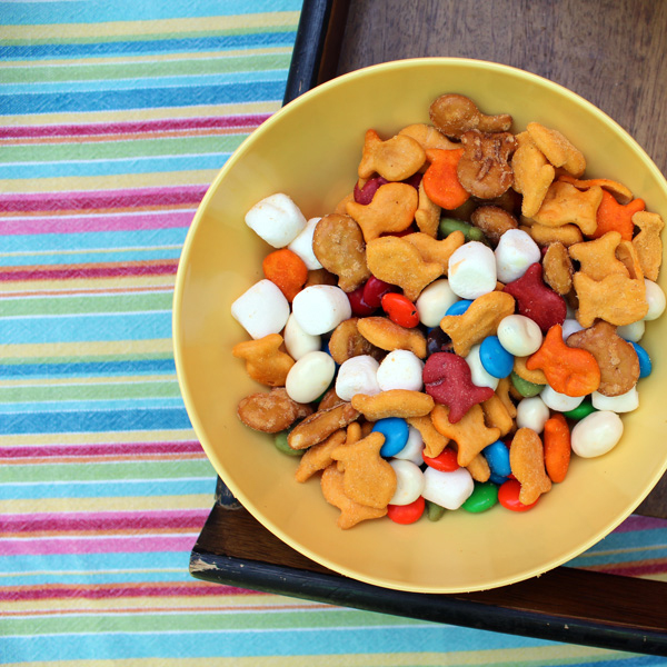 """Unicorn food"" rainbow snack mix"