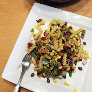 Southwest pasta salad with chicken and avocado