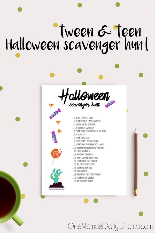 Tween and teen Halloween scavenger hunt