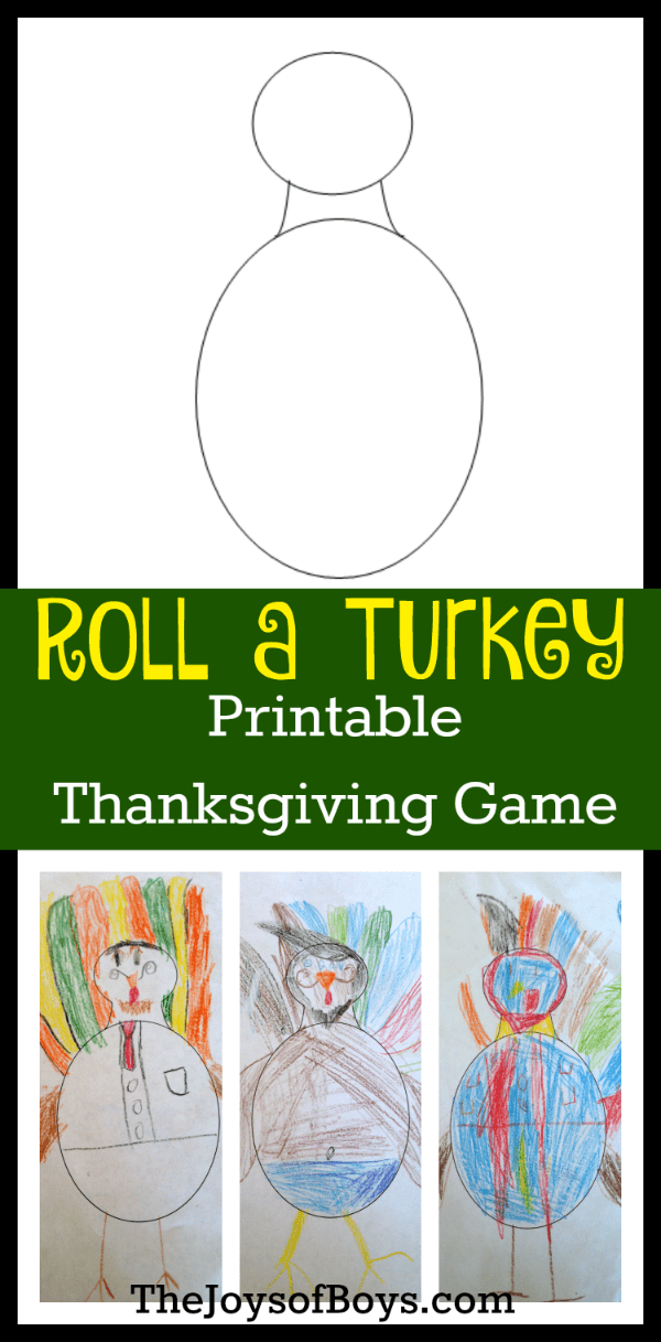 Thanksgiving kids activities | Roll a turkey printable Thanksgiving game from The Joys of Boys