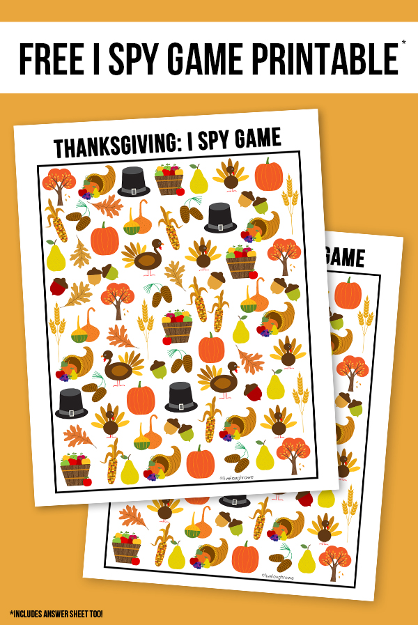 Thanksgiving kids activities | I Spy from Live Laugh Rowe