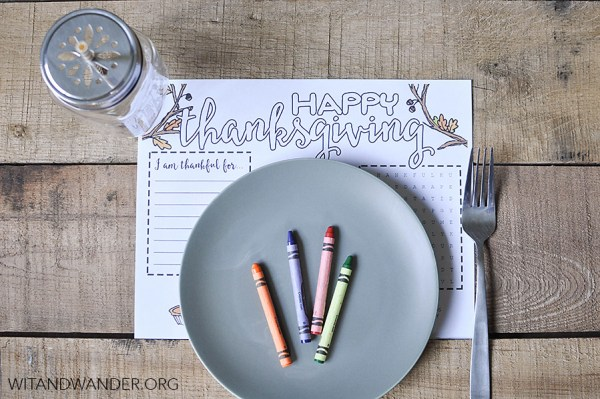 Thanksgiving kids activities   Thanksgiving place mat from Wit and Wander