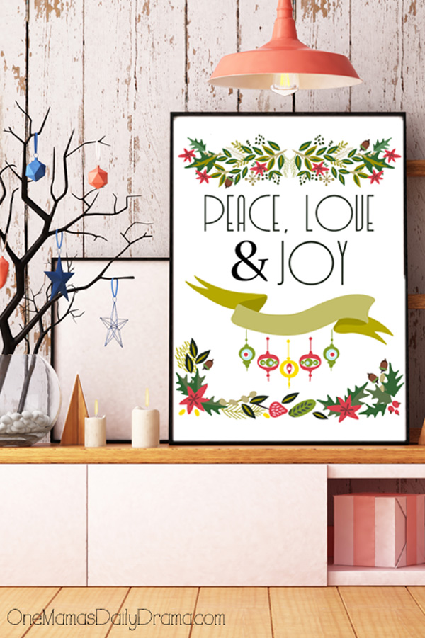 Printable vintage-inspired holiday greetings: Merry Christmas & Happy New Year, Peace Love & Joy, Yuletide Greetings