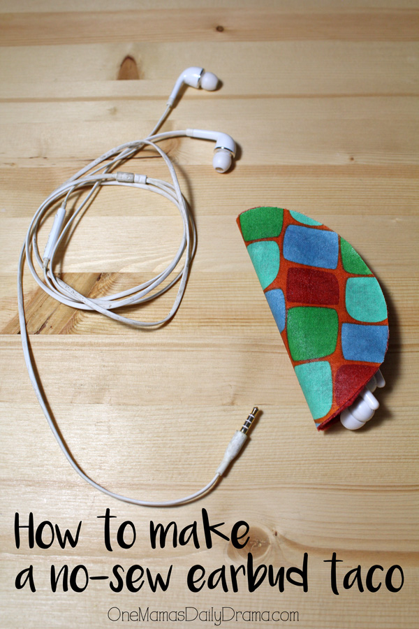 How to make a no-sew earbuds taco | OneMamasDailyDrama.com
