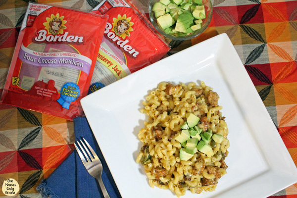 Chicken fajita macaroni and cheese recipe featuring Borden® Cheese