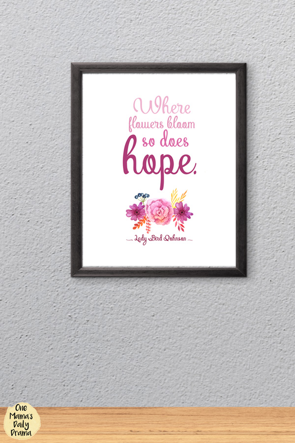 Lady Bird Johnson quote about hope/spring