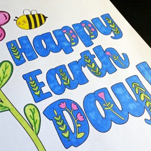Printable Happy Earth Day coloring page