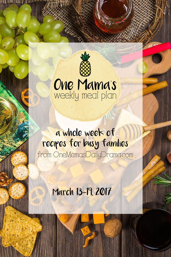 One Mama's Weekly Meal Plan: March 13-19, 2017 -- Seasonal cooking. Recipes with spice for spring allergies.
