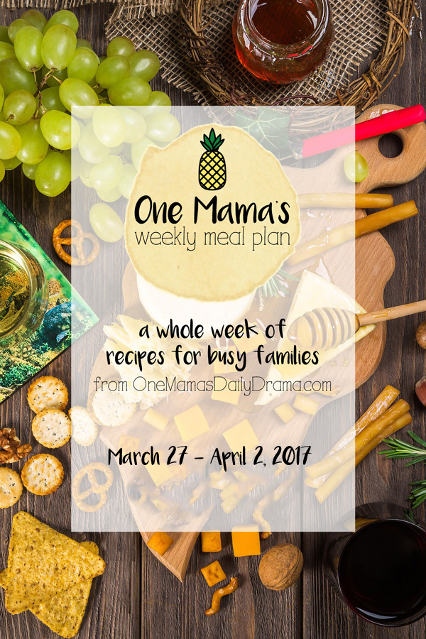 One Mama's weekly meal plan | feeding a family of 4 - busy weeknights, spring grilling, and more.