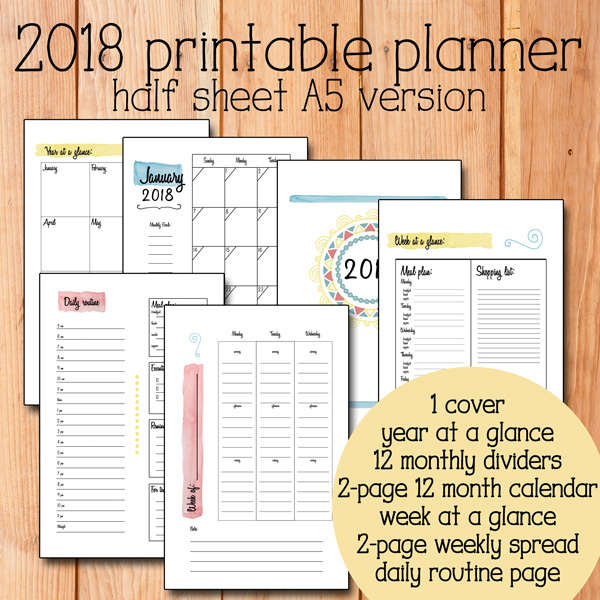 The 2018 Printable Planner from One Mama's Daily Drama is available in a half sheet A5 size.