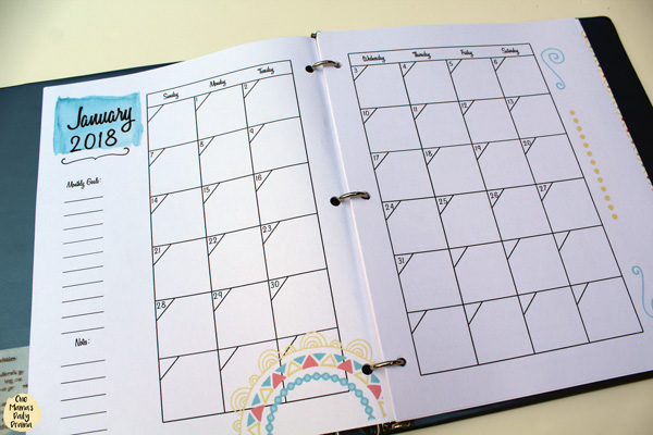 2018 printable planner with multiple options