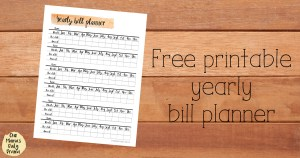 Free printable yearly bill planner